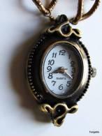 Montre Sautoir Bronze Marron Rétro Médaillon Ancien Accessoires Vintage  Le Pendentif-montre Fait Environ 34x22mm Et Le - Watches: Jewels