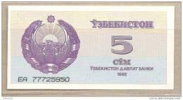 Uzbekistan - Banconota Non Circolata Da 5 Som - 1992 - Uzbekistan