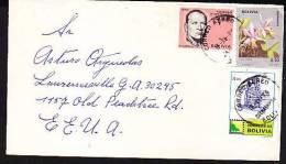 RJ)CIRCULATED COVER, ORCHIDS STAMP, HOMENAJE IV CENTENARIO FUNDACION COCHA BAMBA, BOLIVIA TO USA - Bolivia