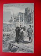 CPA  THEME ILLUSTRATION SIGNEE ROBIDA AU CIMETIERE ST OUEN ROOUEN  24 MAI 1431  VAINES TENTATIVES POUR OBTENIR L'ABJURA - Robida