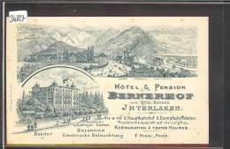 INTERLAKEN - HOTEL BERNERHOF  - LITHO DOS BLANC   - TB - BE Berne