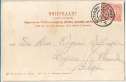 _2n278: N° 51: ROTTERDAM-VLISSINGEN V 16 AUG 06 / Prentkaart: VLISSINGEN Vischmarkt : Treinstempel Grootrond - Periode 1891-1948 (Wilhelmina)