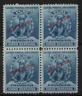 Peru 1896 5c Blue SPECIMEN Block Of 4 MNH Inka - Peru