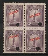 Peru 1925 50c Violet SPECIMEN Block Of 4 MNH Belido Monument - Peru