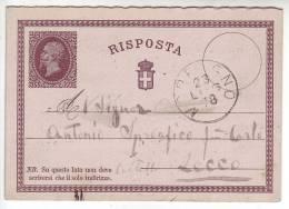 1878 Italia Regno Intero Postale Risposta Da Morbegno Per Lecco - 1861-78 Vittorio Emanuele II