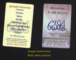 Carte De Visite Business Card Cartão De Visita Restaurant LA VILLE DE CASA Spécialités Marocaines 57000 METZ FRANCE - Visitenkarten