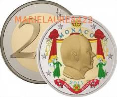 RARE 2 EURO 2011 MONACO Coloried PRINCE ALBERT PIECE NEUVE - Monaco