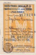 """TESSERA-SCONTRINO Per Il 1981 """" Perfin"""" /  5 Biglietti Ministero Della Pubblica Istruzione - Treni"""