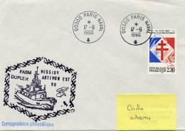 Frégate DUPLEIX - MISSION ARTIMON EST 1990 - CAD Paris Naval 17/09/1990 - Postmark Collection (Covers)