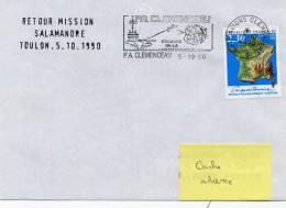 P.A. CLEMENCEAU - Retour MISSION SALAMANDRE - Flamme Mécanique Illustrée 05/10/90 - Postmark Collection (Covers)