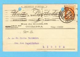 POSTAL COMERCIAL 1910s Publicidade Loja Armazem Mercearia Rua Da Moeda - COIMBRA. Vintage Business Postcard Portugal - Coimbra