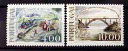 PORTUGAL #1348-1349.  CENTENARY OF RAILROAD EXTENSION. MINT NEVER HINGED - Unused Stamps