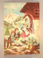 Carte Illustrateur. Kinderen In De Bergen. Chalet Et Bloemen. Enfants Dans Les Montagnes. Chalet Et Fleurs. - Hedendaags (vanaf 1950)