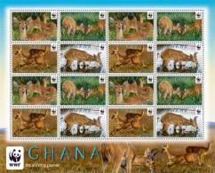 GHANA,2012,WWF,REEDBUCK, SHEETLET OF 4 SETS, MNH - W.W.F.