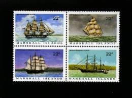 MARSHALL ISLANDS - 1987  WHALER SHIPS  BLOCK  MINT NH - Marshall
