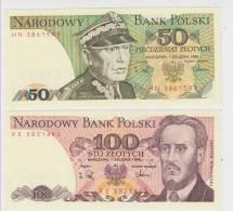 Poland Paper Money Bills 50 Zlotych & 10 Zlotych 1988 UNCIRCULAR ** - Polonia