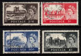 GB Scott 309/312 - SG536a/539a, 1955 St Edward's Crown Castles Set Used - 1952-.... (Elizabeth II)