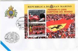 San Marino - Busta Con Foglietto FDC Ferrari Campione Del Mondo Di F1 Nel 2000 - Cars