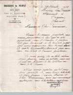 Entête 29/11/1933  -  WALLERS  ( Nord )  -  Brasserie Du  PEUPLE    Vins  Et  Spiritueux - France