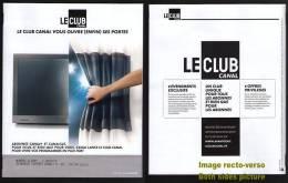Magasine Magazine CANAL PLUS LE CLUB Programmation SEPTEMBRE 2012 N° 128 FRANCE - Magazines