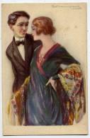 Signée S. BOMPART-Femme élégante En Bonne Compagnie (belle Robe,collier Et Chale,noeud Papillon Pour Monsieur) N° 458-1 - Bompard, S.