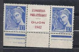 PUBLICITE EXPO DE DIJON 1942 SUR MERCURE N� 407 NEUF** BDF LUXE