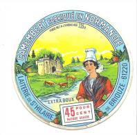 Etiquette Fromage  Camembert Fabriqué En Normandie Laiterie De St Hilaire De Briouze 45%mg - Fromage