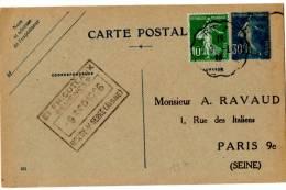CP_semeuse Avec Complément D'affranchissement (09/09/1926)_Ambulant_Liard à Laon - Entiers Postaux