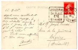 Semeuse N° 194-Daguin_Juan Les Pins (12.09.1926) - Marcophilie (Lettres)
