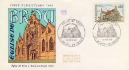 FDC 1969 EGLISE DE BROU # BOURG EN BRESSE #  MONASTERE ROYAL # MARGUERITE D'AUTRICHE - FDC