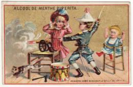 CHROMO Dorée Alcool De Menthe Piperita Enfants Bébé Jeu Jouet Chat Canon Chapeau En Papier Origami - Cromos