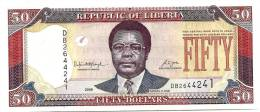 LIBERIA $50 DOLLARS PURPLE MAN FRONT MAN TREE BACK DATED 2008 UNC P.29 READ DESCRIPTION - Liberia