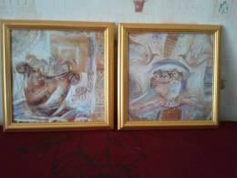 Lot De 2 Tableaux - Cadre - - Other Collections