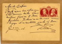 Carte Entier Postal Stationary Ganzsache Card Postcard Gand + Cachet Facteur - 2 Scans - Postcards [1871-09]