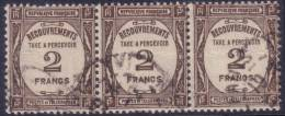 *PROMO* 2Fr Recouvrement En Bande De  3 (Y&T N° 62 , Cote +90€) - 1859-1955 Used