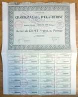 ACTION COMPAGNIE DES CHARBONNAGES D'EKATHERINE  1927 TITRE 040043 - Mines