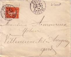 ARDECHE-RUOMS DU 25-5-1914 SUR SEMEUSE DE ANGLE DE CARNET 10c SEMEUSE. - Postmark Collection (Covers)