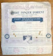 ACTION CREDIT FONCIER D´ORIENT  1910 TITRE 015379 - Bank & Insurance