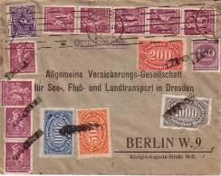 DR Brief Mif Minr.230,9x 241,248,251,252,253,268 Hamburg 25.8.23 - Allemagne