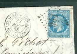 LAC  Affranchie Par N° 29 Oblitéré Gc 941 (Chateauneuf Sur Charente  Dpt 16 )  En 1868 - Ai8903 - Marcophilie (Lettres)