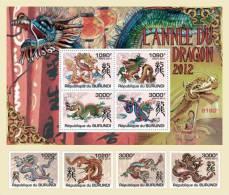 BURUNDI 2011 - Year Of Dragon 2012 4v + S/S. Official Issue - Burundi