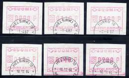 FINLAND 1982 First Issue, 6 Different Values Used.  Michel 1 - ATM/Frama Labels