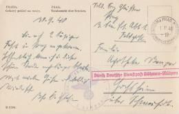 Böhmen & Mähren AK Prag 1.10.40 Durch Dt. Diestpost Böhmen-Mähren - Besetzungen 1938-45