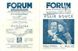 Programme Du Forum, La Plus Belle Salle De Liège (Belgique) - BALALAÎKA (Nelson Eddy) - Années 1947-48 - Programs
