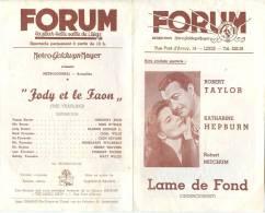 Programme Du Forum, La Plus Belle Salle De Liège (Belgique) - JODY ET LE FAON (Grégory Peck) - Années 1947-48 - Programs