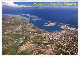 POLYNESIE - BIRDS EYE VIEW PAPEETE-TAHITI-MOOREA / THEMATIC STAMP-FISHING-BOAT - Polinesia Francese