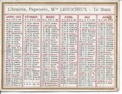 CALENDRIER DE 1913 - Librairie, Papeterie Le Mans - 9 X 6.7 Cm - Non Classificati