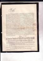 HOOGBOOM MOERZEKE Mathilde Van Den BERGHE Veuve De NIEULANT Et De POTTELSBERGHE 1819-1885 Doodsbrief - Décès