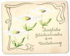 """Verlobungs Kärtchen  """"Margeriten - Jugendstil""""         Ca. 1910 - Engagement"""