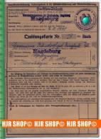 Invalidenversicherung, Quittungskarte A, Ausgestellt 3.8.1941 - Magdeburg